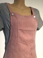 BABY PINK CORDUROY DUNGAREE DRESS NEW SIZE XS 8
